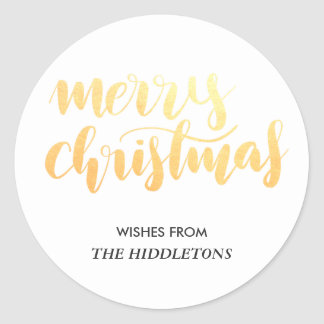 Merry Christmas Faux Gold Handwritten Script Classic Round Sticker