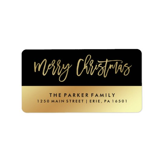 Merry Christmas | Faux Gold Typography and Black
