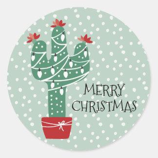 Merry Christmas | Feliz Navidad Cactus Classic Round Sticker