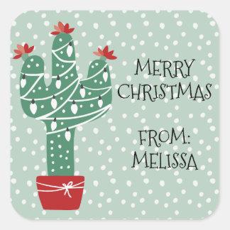 Merry Christmas | Feliz Navidad Cactus Square Sticker