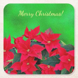Merry Christmas festive poinsettia coasters