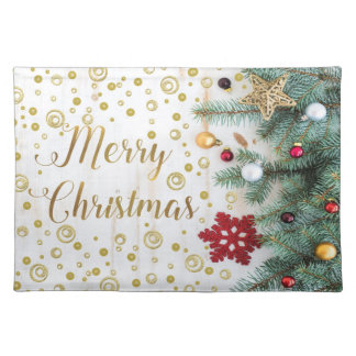 Merry Christmas Festive Tree Gold Circles Placemat