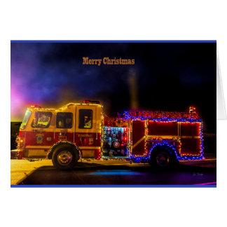 Merry Christmas Fire Engine Card
