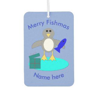 Merry Christmas Fishing Penguin Air Freshener