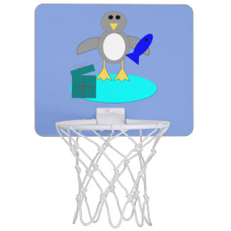 Merry Christmas Fishing Penguin Basketball Hoop