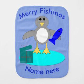 Merry Christmas Fishing Penguin Burp Cloth