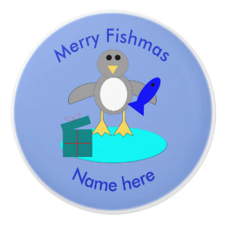 Merry Christmas Fishing Penguin Ceramic Knob