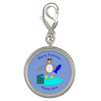 Merry Christmas Fishing Penguin Charm