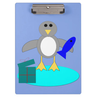 Merry Christmas Fishing Penguin Clipboard