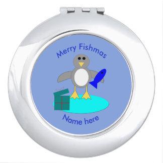 Merry Christmas Fishing Penguin Compact Mirror
