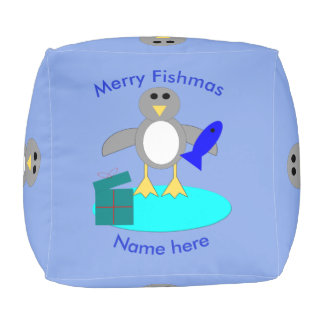 Merry Christmas Fishing Penguin Cube Pouf