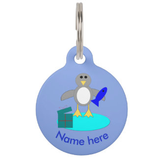Merry Christmas Fishing Penguin Custom Dog Tag