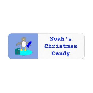 Merry Christmas Fishing Penguin Custom Food Labels