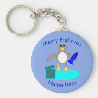 Merry Christmas Fishing Penguin Custom Keychain