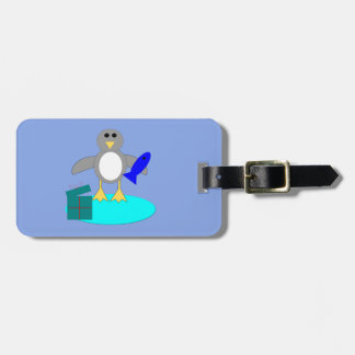 Merry Christmas Fishing Penguin Custom Luggage Tag