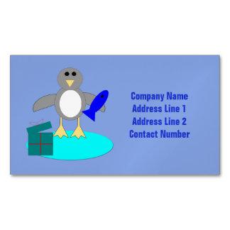 Merry Christmas Fishing Penguin Custom Magnetic Business Card