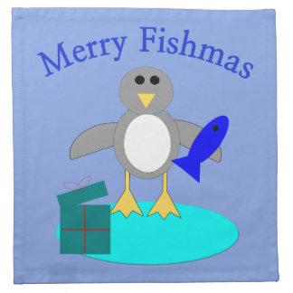 Merry Christmas Fishing Penguin Custom Napkins