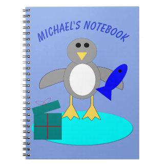 Merry Christmas Fishing Penguin Custom Notebook