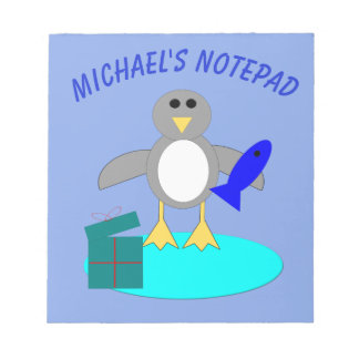 Merry Christmas Fishing Penguin Custom Notepad