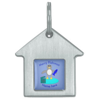 Merry Christmas Fishing Penguin Custom Pet Tag