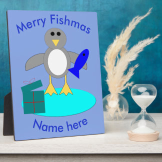 Merry Christmas Fishing Penguin Custom Plaque