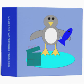 Merry Christmas Fishing Penguin Custom Recipe 3 Ring Binders