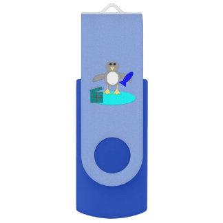 Merry Christmas Fishing Penguin Custom USB Drive