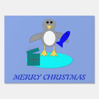 Merry Christmas Fishing Penguin Custom Yard Sign