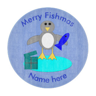 Merry Christmas Fishing Penguin Cutting Board