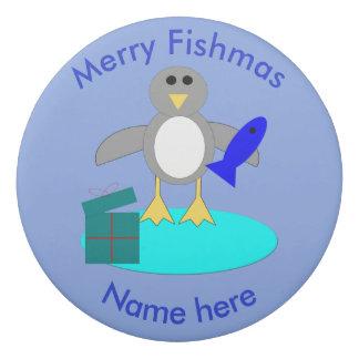 Merry Christmas Fishing Penguin Eraser