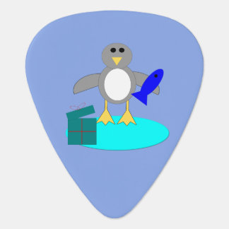 Merry Christmas Fishing Penguin Guitar Pick