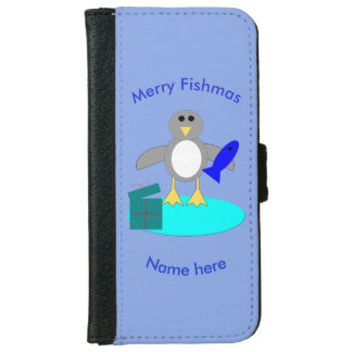 Merry Christmas Fishing Penguin iPhone Wallet Case