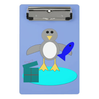 Merry Christmas Fishing Penguin Mini Clipboard