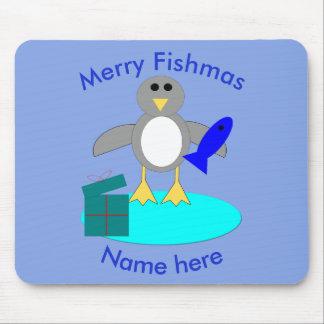 Merry Christmas Fishing Penguin Mousepad