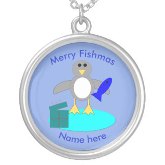 Merry Christmas Fishing Penguin Necklace