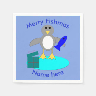Merry Christmas Fishing Penguin Paper Napkins