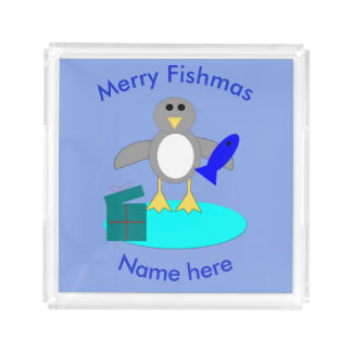 Merry Christmas Fishing Penguin Perfume Tray