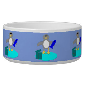 Merry Christmas Fishing Penguin Pet Bowl