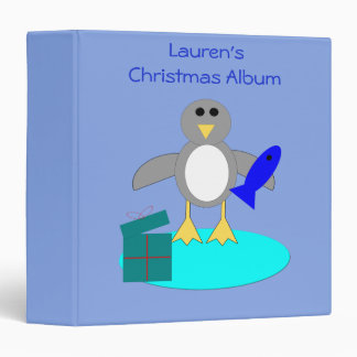 Merry Christmas Fishing Penguin Photograph Album Vinyl Binder
