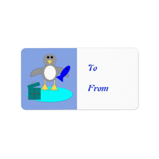Merry Christmas Fishing Penguin Present Tag Labels
