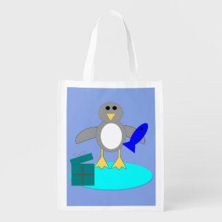 Merry Christmas Fishing Penguin Reusable Bag