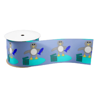 Merry Christmas Fishing Penguin Ribbon Satin Ribbon