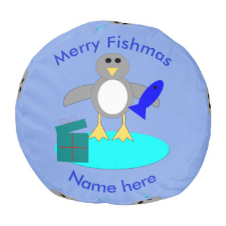 Merry Christmas Fishing Penguin Round Pouf