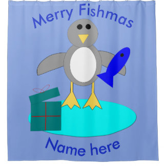 Merry Christmas Fishing Penguin Shower Curtain