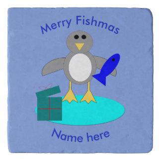 Merry Christmas Fishing Penguin Stone Trivet