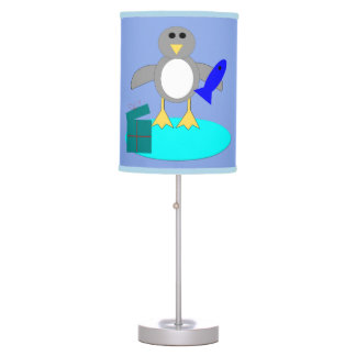 Merry Christmas Fishing Penguin Table Lamp
