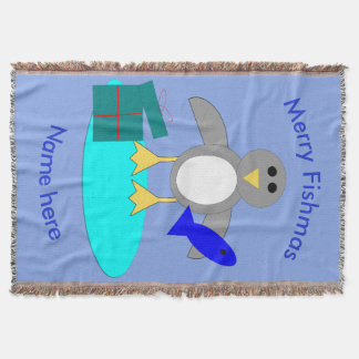Merry Christmas Fishing Penguin Throw Blanket