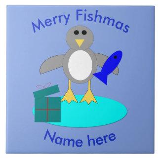Merry Christmas Fishing Penguin Tile