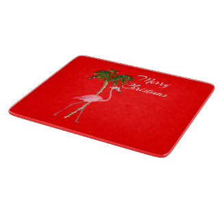 Merry Christmas Flamingo Cutting Board