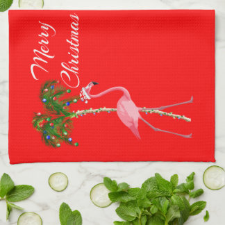 Merry Christmas Flamingo Kitchen Towel